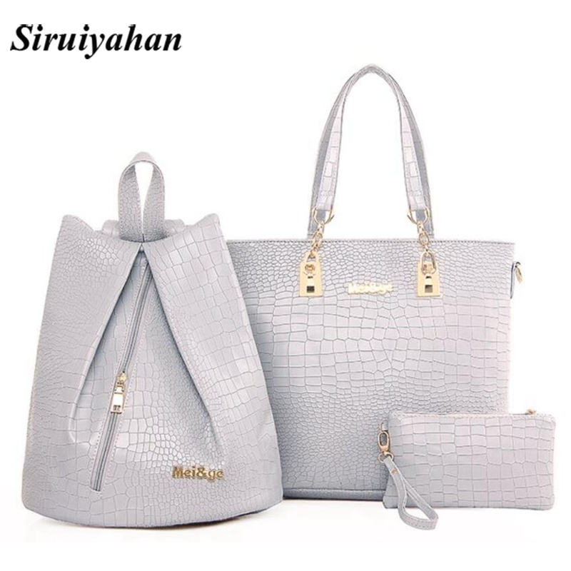 3pcs Women Pu Handbags Ladies Shoulder Bag Female Casual Tote Women  Messenger Bag Set Bolsas Feminina 7d50524137