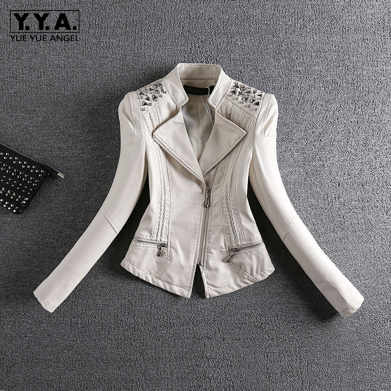Rivets Pu   Leather   Jacket Women Short Slim Fit Motorcycle Jacket 2019 Spring Autumn Female   Leather   Coat Fashion Ladies Streetwear