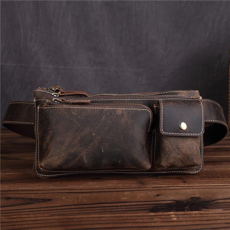YISHEN Vintage őrült ló bőr férfi derékcsomagok többfunkciós férfi vállát keresztbot zsákok ékszíj mellkasi táskák 3612