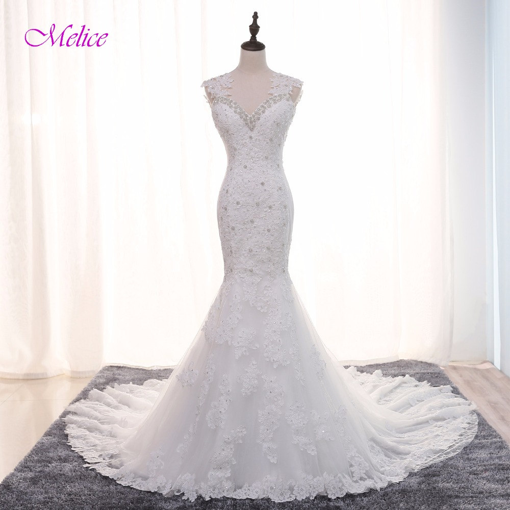 Melice Luxury Beaded Sweetheart Crystal Mermaid Wedding Dress 2017 Gorgeous Appliques Pearls Trumpet Bride Gown Robe De Mariage