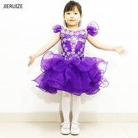 JIERUIZE розового и фиолетового цветов органза бальное платье короткие для девочек в цветочек платья кристаллы кекс Пышное Платье для девочек