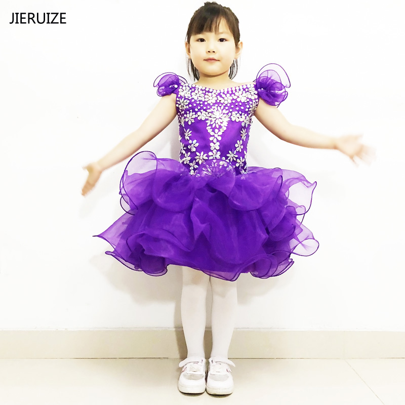 JIERUIZE Pink Purple Organza Ball Gown short   Flower     Girl     Dresses   Crystals Cupcake Pageant   Girl     Dress   Infant Toddler   Dresses