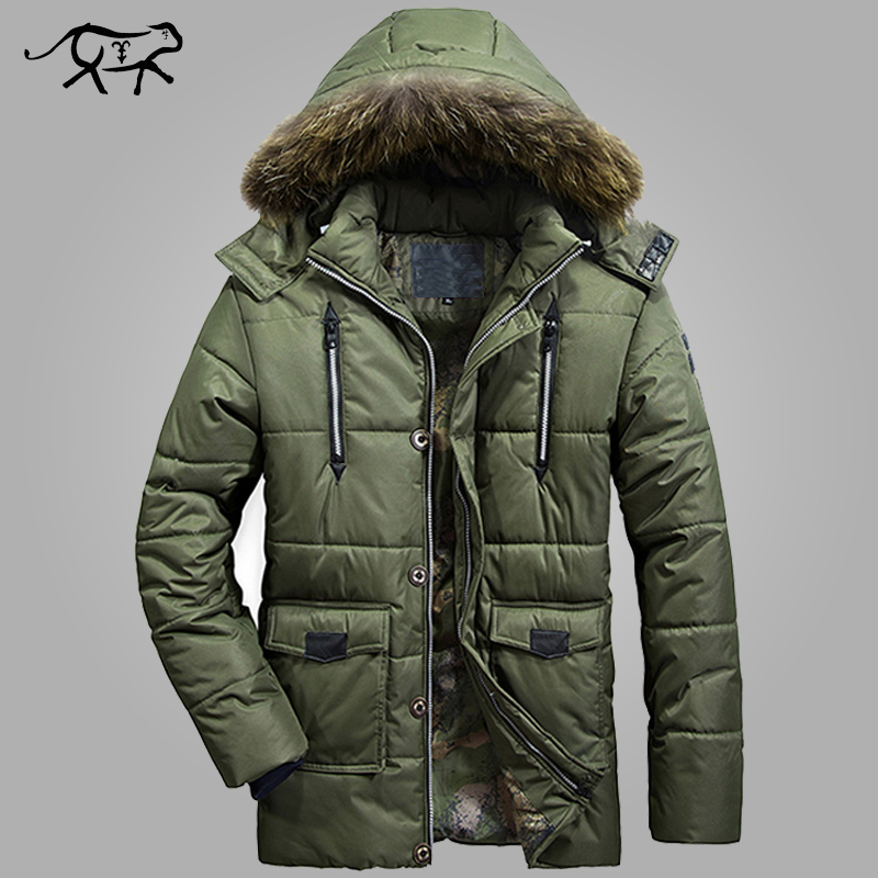 ФОТО Parkas Men Brand Clothing Fashion Winter Jacket Men Thermal Hooded Thicken Coat Casual Men Fur Hood Army Military Jacket Warm