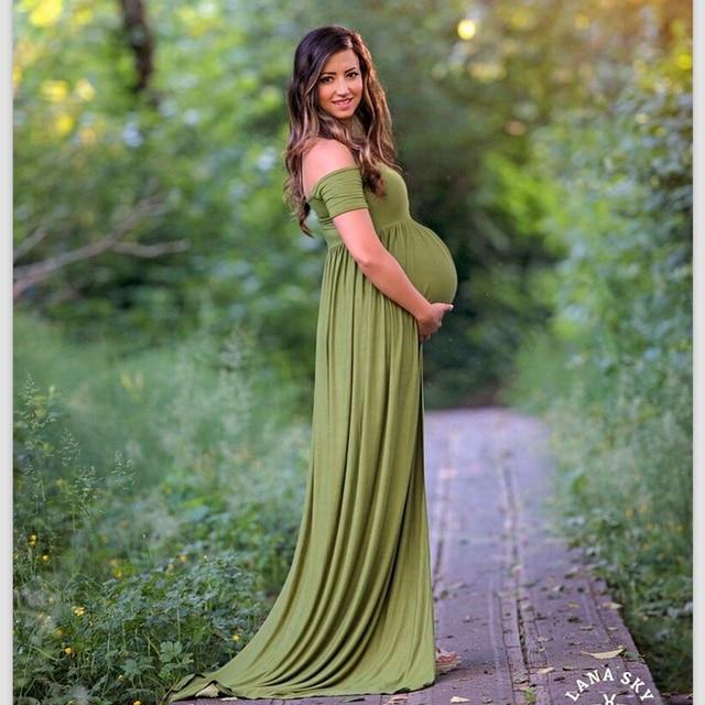 2017 Moss Green Pregnant Prom Dress Long Chfffon Pleats A line ...