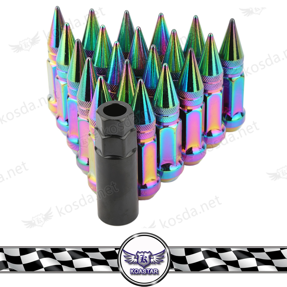 20 pcs 1.5 Steel neo chrome wheels lug nuts with spiked M12 x 1.25 Universal wheel bolt and nut Spiked wheel lock nut цены