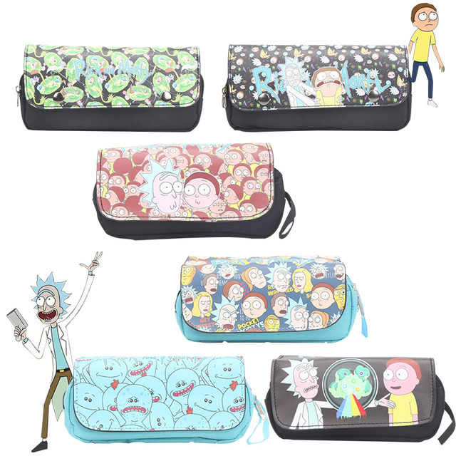 Cartoon Rick and Morty Mr. Meeseeks Pickle Rick Cosplay Pencil Holder Case  Sans Papyrus Pencil Bag Stationery bags Purse 9c713f56236fc