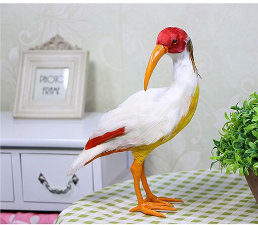 large 24x10x28cm red Crested Ibis bird polyethylene furs handicraft Figurines garden decoration toy gift a1919