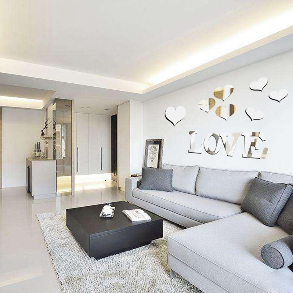 US $16.616 16% OFF16 stücke Liebe Herz Acryl 16D Spiegel Wand Aufkleber  Wandbild Aufkleber Abnehmbare Aufkleber wohnzimmer Dekoration Wand  Aufkleber Art