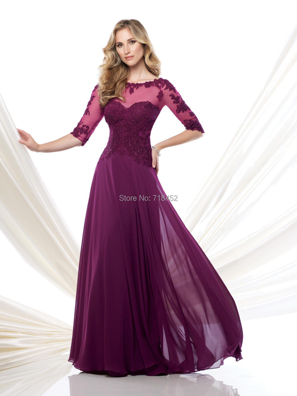 Sheer Sleeve Appliques 2015 Mutter der Braut Kleider Fushia Chiffon ...