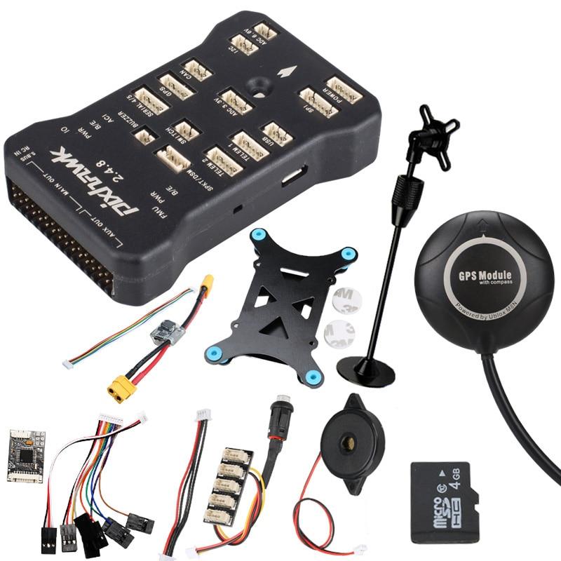 Pixhawk PX4 PIX 2.4.8 32 poco controlador de vuelo w/SD 4G interruptor de seguridad timbre M8N + GPS + PPM + I2C + amortiguador + xt60 módulo de potencia