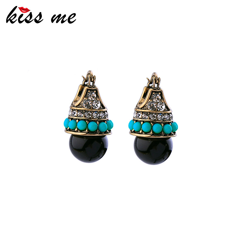 KISS ME Women Bijoux Vintage Stud Earring Acrylic Pierced Accessories Antique Gold Color Blue Earring Jewelry