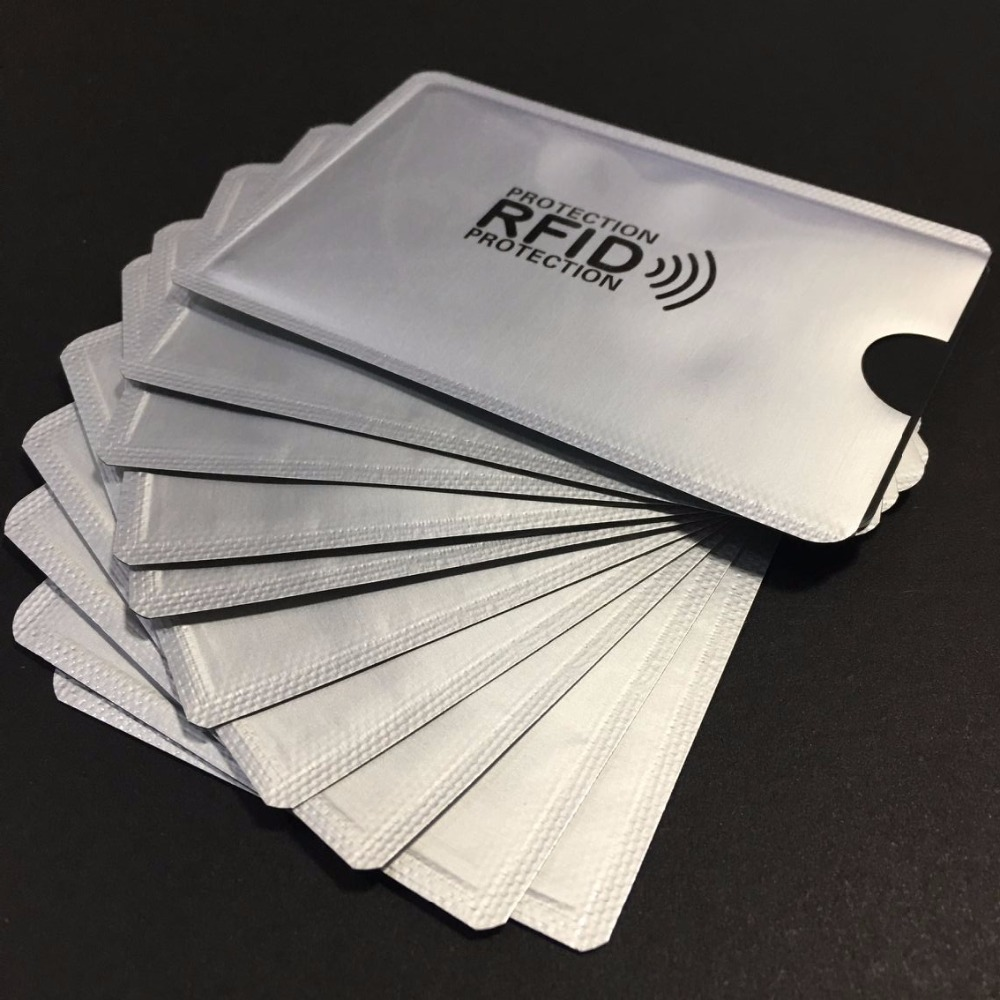 100pcs Anti Scan RFID Blocking Sleeve Credit Card case to Secure Identity ATM Debit Contactless ID Protector Holder