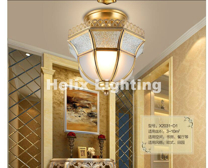 Bronze American Countryside Style Wrought Iron LED AC Ceiling Light Cloth Art Asile Lamp Bedroom Decoration Lamp Free Shipping