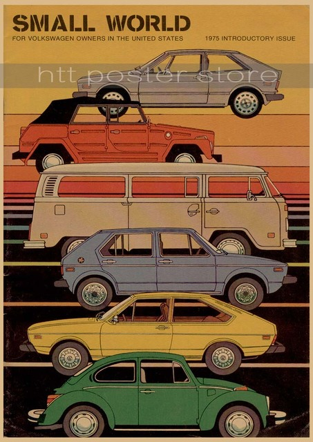 Vintage Classic Volkswagen Car VW Type Mini Bus Poster Bar Cafe Home Decor Retro Kraft Paper Wall Sticker