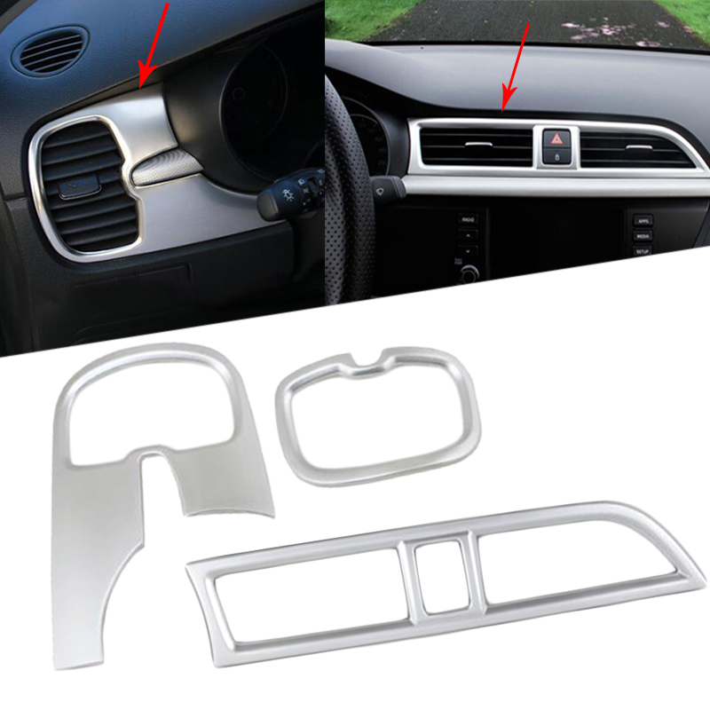 3PCS ABS Air Outlet Decoration Frame Accessories For RU KIA RIO K2 4 2017 2018 Car-Styling Conditioning Vent Cover Trim ...