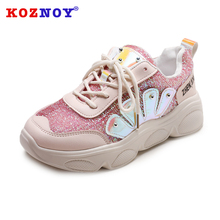 Koznoy Women Sneakers Platform Shoes Woman Spring Autumn Pink Shiny Bling Vulcanize Flats Chunky Sneaker Lace Up