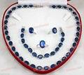 free shipping>>> GP Blue Zircon Gem Inlay necklace bracelet ring earring Lady's Jewelry set-SGDSFGDGftytyXCVXFD