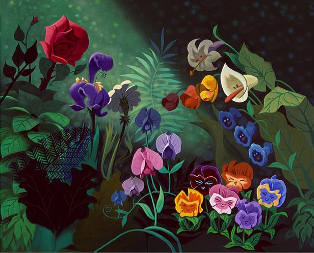Alice Wonderland Colorful Rose Flowers Leaves Forest