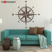 Compass Rose The Sailor Vinyl Decal For Walls North South East West Compass Vinyl Wall Sticker Nautical Theme Decor 3029 цена