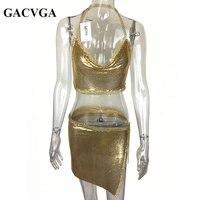 GACVGA 2017 Sexy Metal Crop Top Beach Fitness T Shirt Women Summer Tops Sequined Tank Top