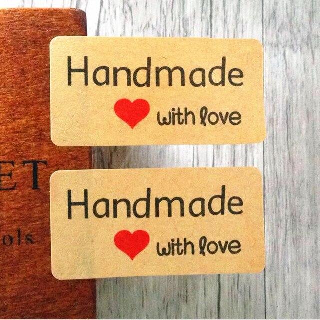"""600 pçs/lote papel Kraft """"Feito À Mão com amor"""" print Adesivo Cozimento Selo Etiqueta Etiqueta Do Presente Adesivos DIY Engraçado dos alunos trabalho"""