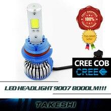 Upgrade!! 2x 9007 60W/Set 8000LM/Set Hi Lo Beam Lamp COB Car Super Bright White Fog Headlight Kit long service life