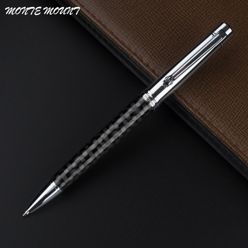 MONTE MOUNT luxury pen carbon fiber pen material crystal writing gel Roller Ball Pen Luxury Ballpoint Pen For Business school image