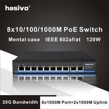 Гигабитный 10 портовый коммутатор Poe поддержка IEEE802.3af/at IP камер и Беспроводной AP 10/100/1000 Мбит/с 48 V стандартный сетевой коммутатор