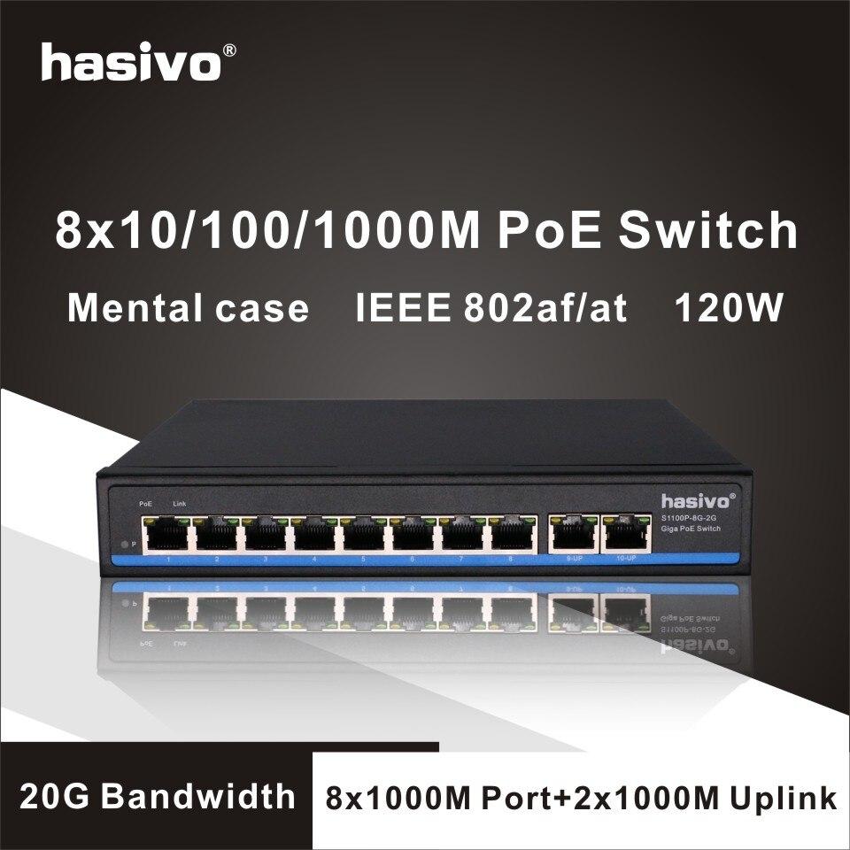 Gigabit 10 porta poe switch suporte ieee802.3af/at câmeras ip e ap sem fio 10/100/1000 mbps 48 v padrão interruptor de rede