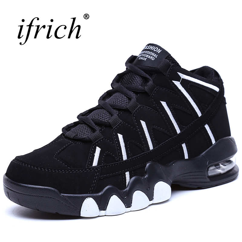 Couple Air Sole Basketball Shoe White Black High Top Men Women Leather  Stitching Sport Shoes Comfortable Gym Basketball Footwear 494ee64999
