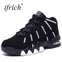 Couple Air Sole Basketball Shoe White Black High Top Men Women Leather Stitching Sport Shoes Comfortable
