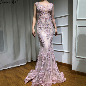 Image 3 - Pink Sleeveless Feathers Shawl Yarn Evening Dresses 2020 Mermaid Crystal Pearls Fashion Sexy Evening Gowns Serene Hill LA6608