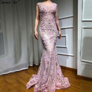Image 3 - Różowe bez rękawów pióra szal przędzy suknie wieczorowe 2020 syrenka kryształowe perły moda Sexy suknie wieczorowe Serene Hill LA6608