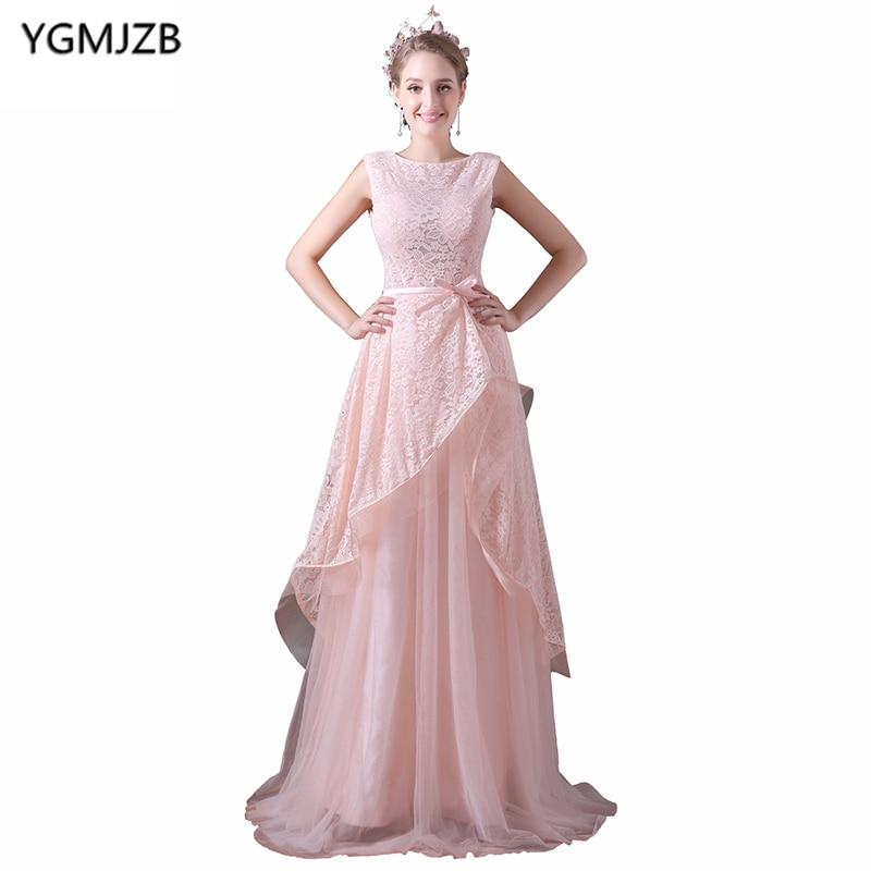 Long Lace   Evening     Dresses   2019 A Line Scoop Cap Sleeve Floor Length Prom   Dress   Pink   Evening   Gown Vestido De Festa