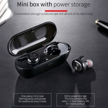 TWS Wireless Mini Bluetooth Earphone Stereo Earbud Sport Business EarPhone With Mic Charging Box For iPhone Xiaomi Huawei