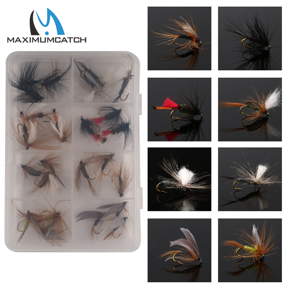 Maximumcatch 12/18/24/60Pieces Mixed Dry Flies Pack/set Feather Bait Hook Fly Flies Fish Hook Lures Fishing Flies wifreo 16 golden hook nymph flies bead head buzzers fly fishing lures