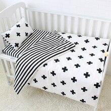 Комплект постельного белья из 3 предметов для детей, хлопковые комплекты для кроваток, черно-белая полоска, крестообразный узор, комплект для детской кроватки, включая пододеяльник, наволочка, плоский лист