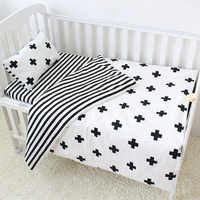 3Pcs Baby Bedding Set Cotton Crib Sets Black White Stripe Cross Pattern Baby Cot Set Including Duvet Cover Pillowcase Flat Sheet