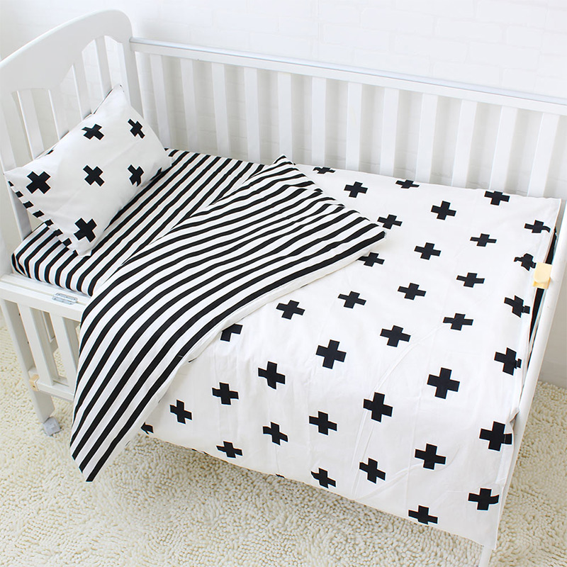3Pcs <font><b>Baby</b></font> <font><b>Bedding</b></font> <font><b>Set</b></font> Cotton Crib <font><b>Sets</b></font> Black White Stripe Cross Pattern <font><b>Baby</b></font> Cot <font><b>Set</b></font> Including Duvet Cover Pillowcase Flat Sheet image