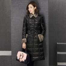2017 Winter Jacket Women down jackets genuine leather down coat Women's mink fur Collar sheepskin outerwear M-3XL