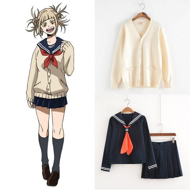 My Hero Academia Cosplay Costume Anime Boku no Hero Academia Cosplay Himiko Toga JK Uniforms Women Sailor Suits with Sweaters