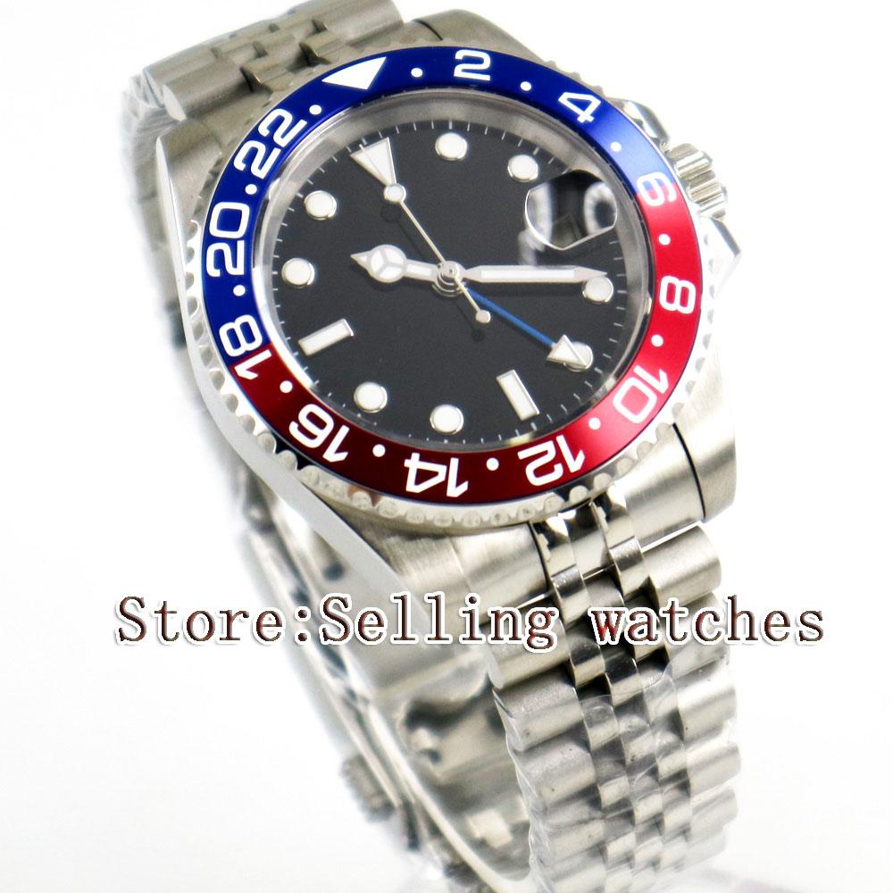 Здесь можно купить  40mm Parnis Black Sterile Dial Pepsi Bezel Jubilee Style Strap Blue GMT date window automatic mens watch  Часы