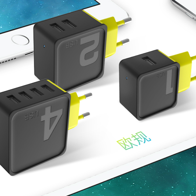 ROCK Sugar Series 4 2 1 USB CCC EU Plug for IPhone Samsung Fast Charger Wall Phone Fast Travel Adapter Charger