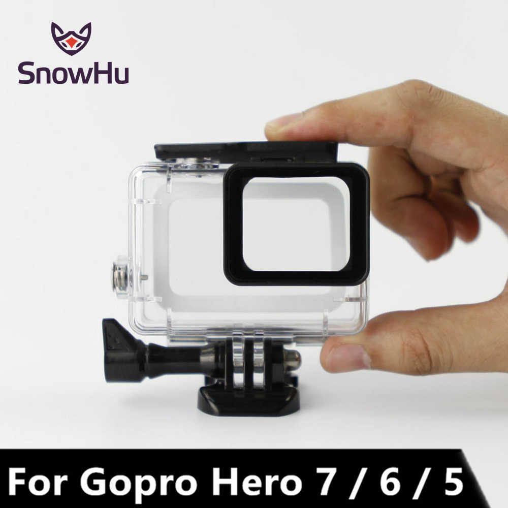 Funda resistente al agua SnowHu 45m para cámara Gopro Hero 7 edición negra con montura base protectora para Go pro 7 6 5 accesorios LD08