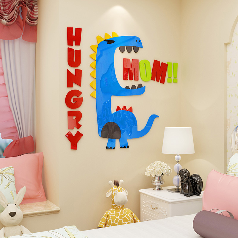 Cute Dinosaur Design Colorful Acrylic Wall Stickers for Kids Room Kindergarten Decoration Best Birthday Christmas Gift