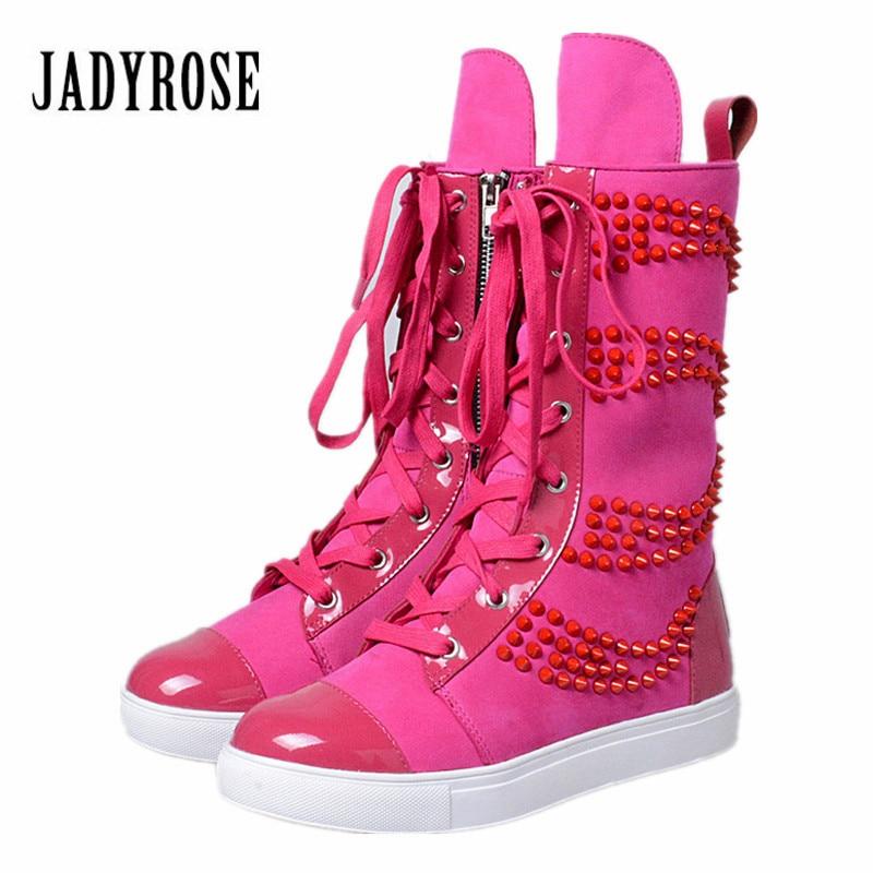 Jady Rose Women Mid-Calf Boots Rose Red Vinatge Riding Boots Lace Up Flat Shoes Woman Platform Botas Militares Rivets Long Boot