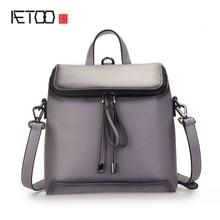 AETOO Новый плеча плеча с тремя женская сумка кожа дамы рюкзак колледж прилив пакет