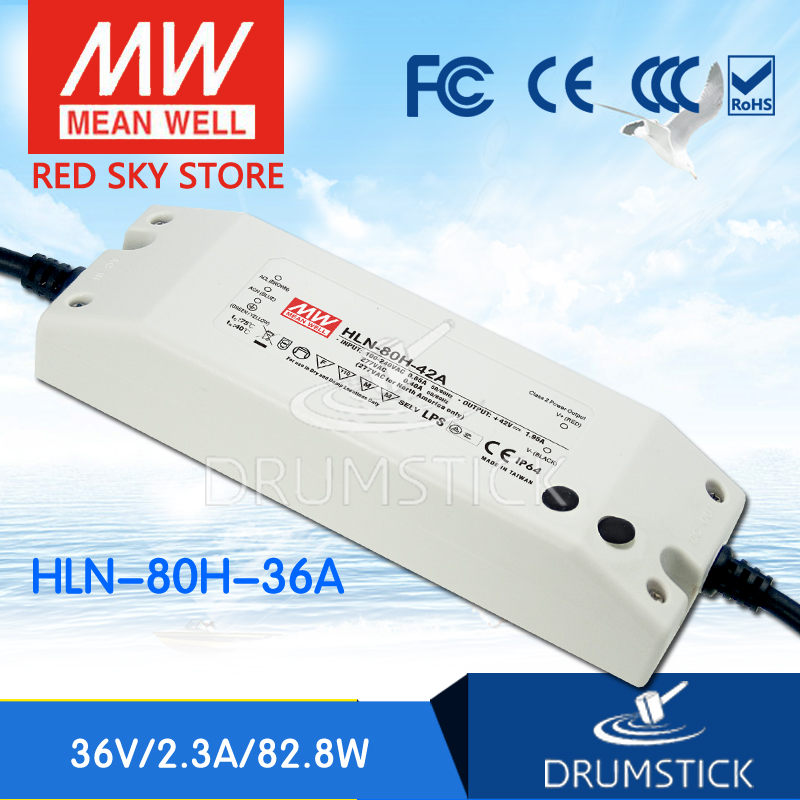 Advantages MEAN WELL HLN-80H-36A 36V 2.3A meanwell HLN-80H 36V 82.8W Single Output LED Driver Power Supply A type free shipping mean well hln 80h ip64 80w 12v 42v 48v 54v 181 61 35mm 90 305vac single output switching power supply