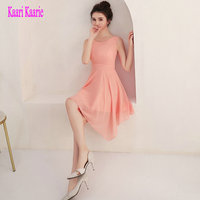 Glamorous Coral Prom Dress 2018 Sexy Prom Dresses Short Scoop Chiffon Built In Bra Zipper Club Homecoming Party Gown Custom Made