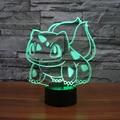 Figurinhas candeeiro de mesa brinquedos 2016 New Pikachu Pikachu Ir Bulbasaur 3D LED 7 mudando a cor da atmosfera de festa de aniversário decoração